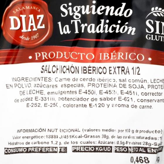 Salchichón ibérico cebo Salamanca pieza Embutidos Díaz 540 g aprox - 3