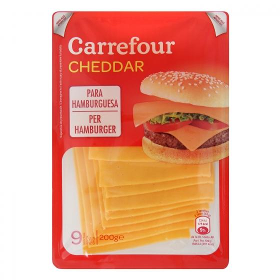 Queso cheddar en lonchas Carrefour 200 g.