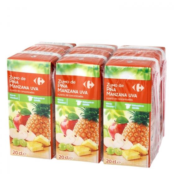Zumo de piña, manzana y uva Carrefour pack de 6 briks de 20 cl.