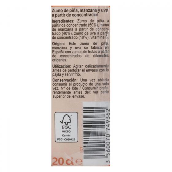 Zumo de piña, manzana y uva Carrefour pack de 6 briks de 20 cl. - 3