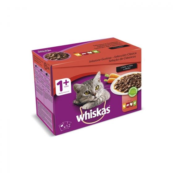 Whiskas Multipack de 12 Bolsitas para Gatos Adultos Selección de Carnes 100gr