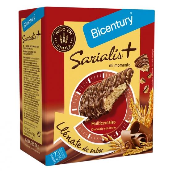 Barritas multicereales con chocolate con leche Bicentury Sarialís 78 g.