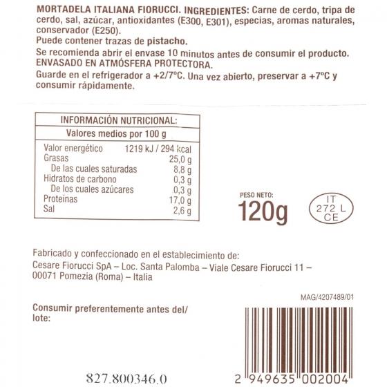 Mortadela bologna italiana loncheada Fiorucci Ferrarini 120 g - 3