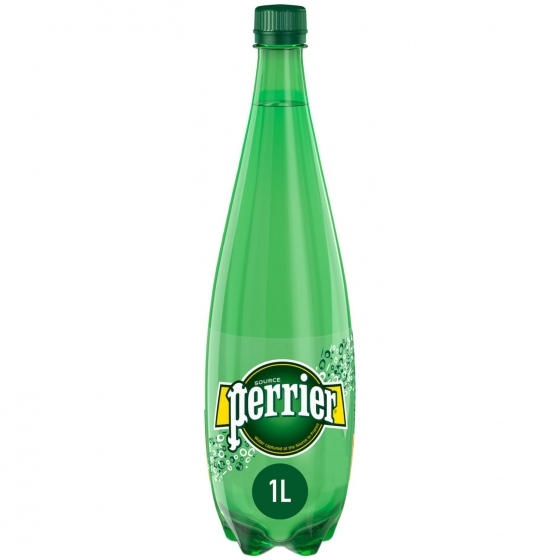 Agua mineral Perrier natural con gas 1 l.