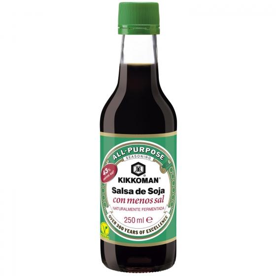 Salsa de soja con menos sal Kikkoman botella 250 ml.