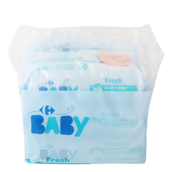 Toallitas para bebé con aloe vera Fresh Carrefour Baby pack de 6 paquetes de 80 ud. - 1