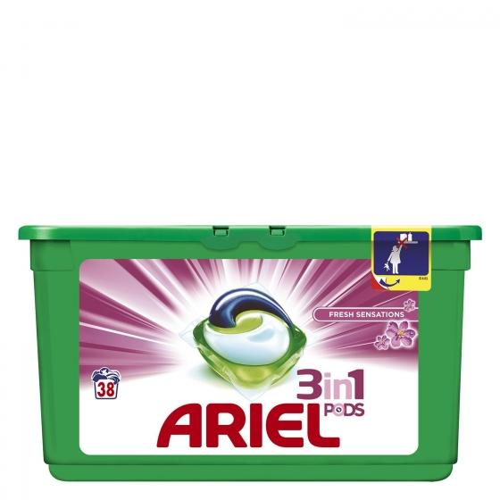 Detergente en cápsulas 3 en 1 Sensaciones Ariel 38 ud.