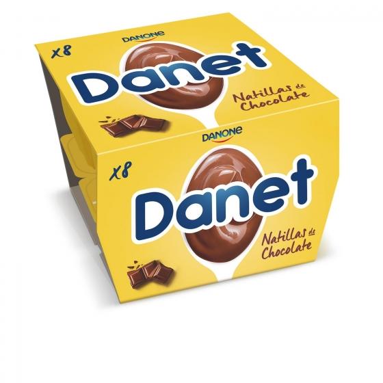 Natillas de chocolate Danone Danet sin gluten pack de 8 unidades de 125 g.