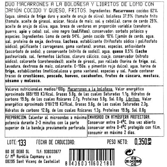 Duo macarrones y libritos jamon y queso Bo de Debó 300 g - 1