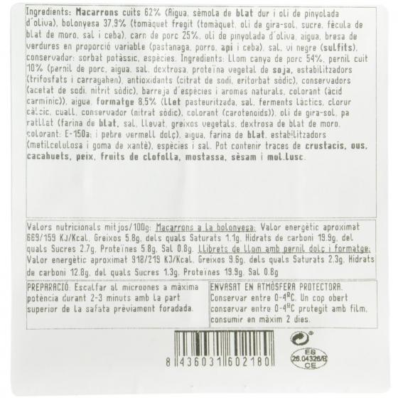 Duo macarrones y libritos jamon y queso Bo de Debó 300 g - 3