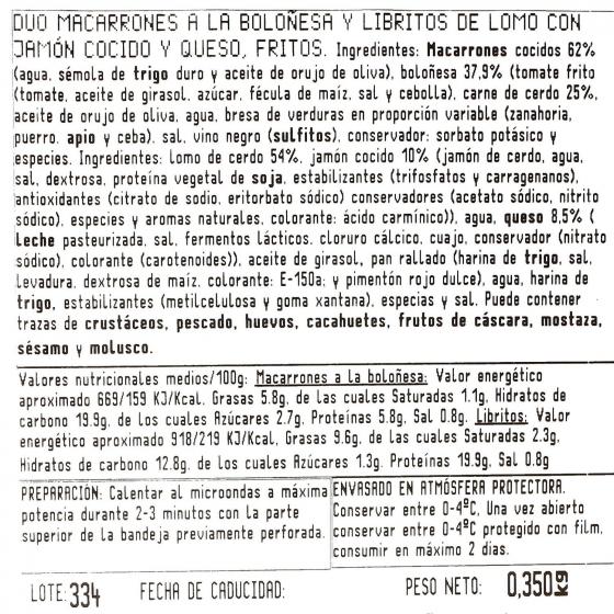 Duo macarrones y libritos jamon y queso Bo de Debó 300 g - 4