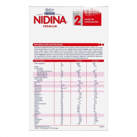 Leche infantil de continuación desde 6 meses en polvo Nestlé Nidina Premium 2 pack de 2 unidades de 500 g. - 3