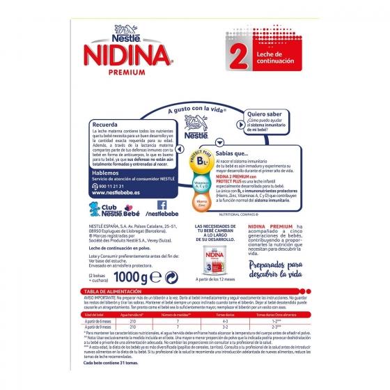 Leche infantil de continuación desde 6 meses en polvo Nestlé Nidina Premium 2 pack de 2 unidades de 500 g. - 4