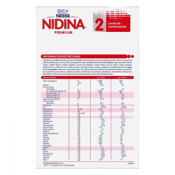 Leche infantil de continuación desde 6 meses en polvo Nestlé Nidina Premium 2 pack de 2 unidades de 500 g. - 6