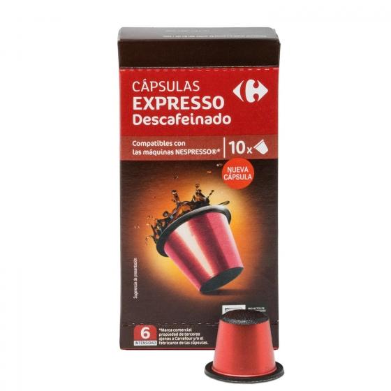 Café descafeinado en cápsulas Carrefour compatible con Nespresso 10 unidades de 5,2 g. - 1