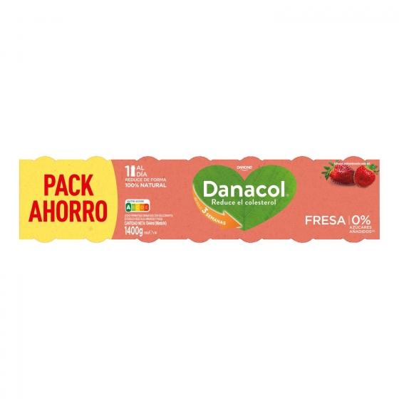 Yogur líquido de fresa Danone Danacol pack de 14 unidades de 100 g. - 1