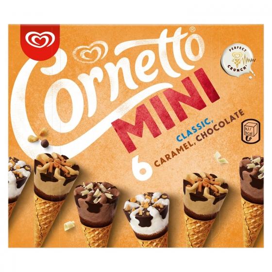 Conos con helado de nata, chocolate y caramelo Cornetto 6 ud.