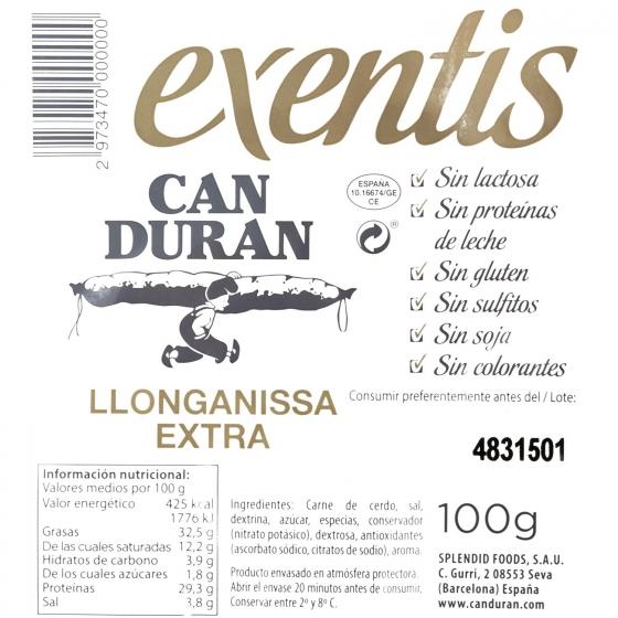 Longaniza extra loncheada Exentis 100 g - 3