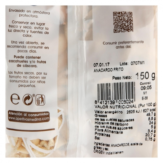 Anacardos fritos Medina 150 g. - 1