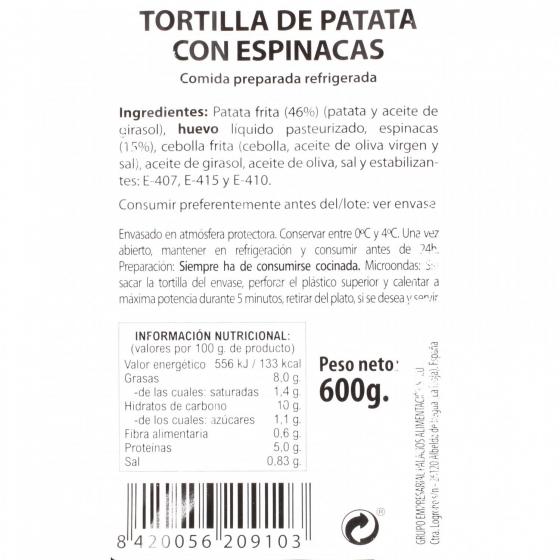 Tortilla de patatas con espinacas Palacios 600 g - 1