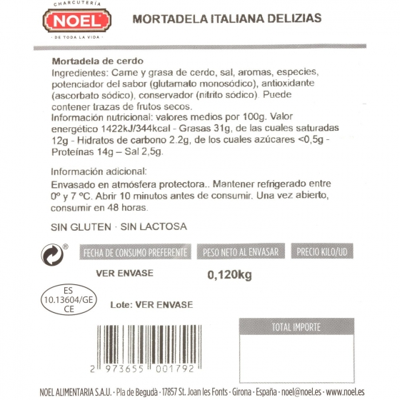 Mortadela italiana loncheada delizias Embutidos Noel 120 g  - 1