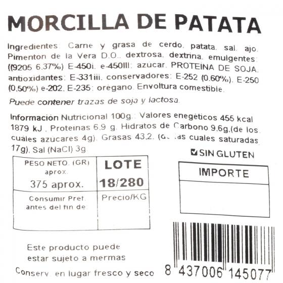 Morcilla de Patata Nejosa 375 g - 1