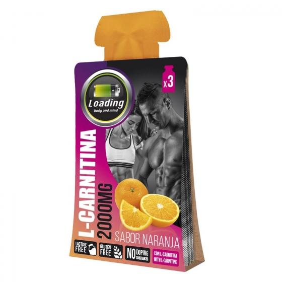 Complemento alimenticio L-carnitina Loading pack de 3 bolsitas de 20 g.