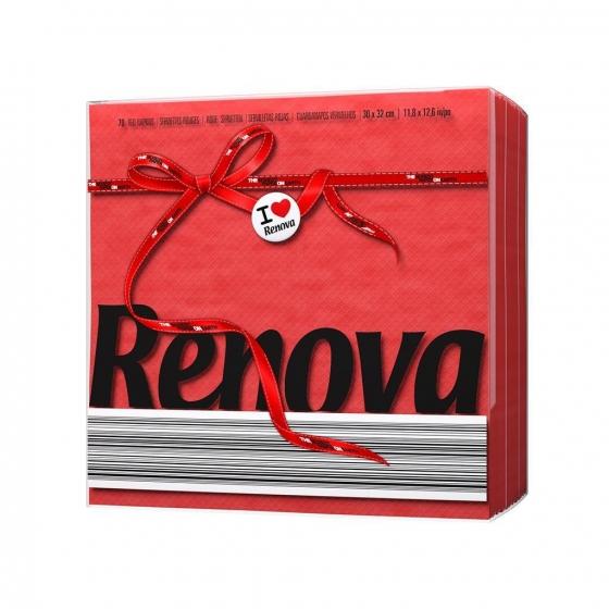 Set de Servilletas  1 capa de Celulosa RENOVA Red Label 70pz - Rojo