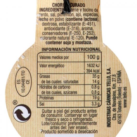 Chorizo Castellano dulce Ristra Tello al corte 300 g aprox - 1