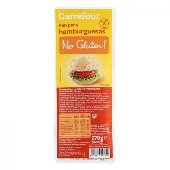 Pan para hamburguesa Carrefour sin gluten 3 ud.