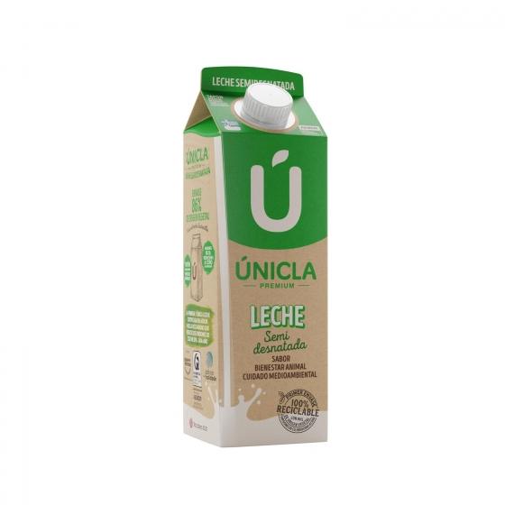 Leche semidesnatada Únicla Premium brik 1 l.