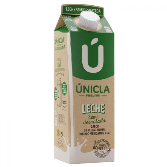 Leche semidesnatada Únicla Premium brik 1 l. - 1