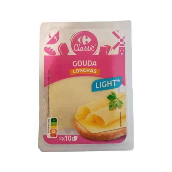 Queso en lonchas Gouda Light Carrefour 200 g.
