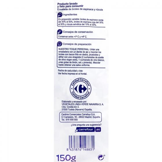 Brotes de espinacas - rúcula Carrefour bolsa 150 g - 3