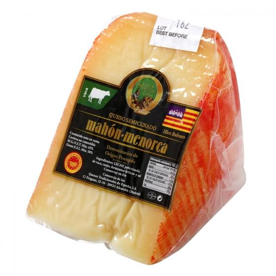 Queso semicurado de vaca D.O.P Mahón-Menorca El Consorcio de Quesos cuña 1/8, 350 g aprox - 1