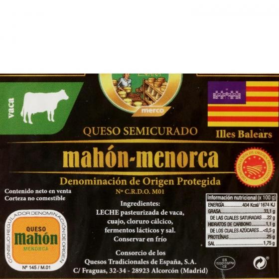 Queso semicurado de vaca D.O.P Mahón-Menorca El Consorcio de Quesos cuña 1/8, 350 g aprox - 3