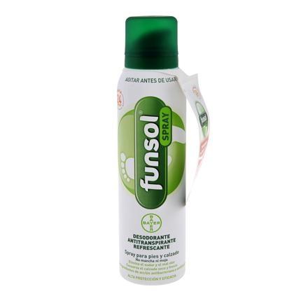 Spray desodorante para pies y calzado Funsol Bayer 150 ml.