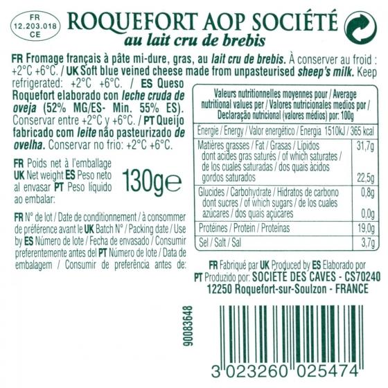 Queso azul roquefort Societé cuña 130 g - 1