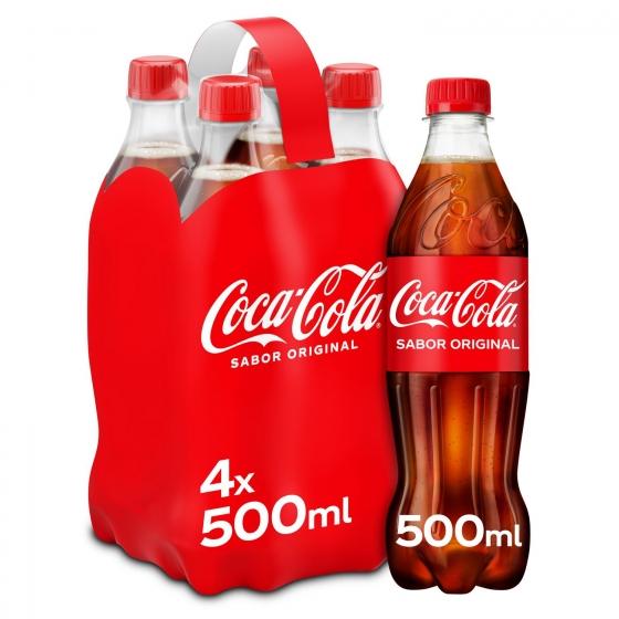 Refresco de cola Coca Cola pack de 4 botellas de 50 cl.