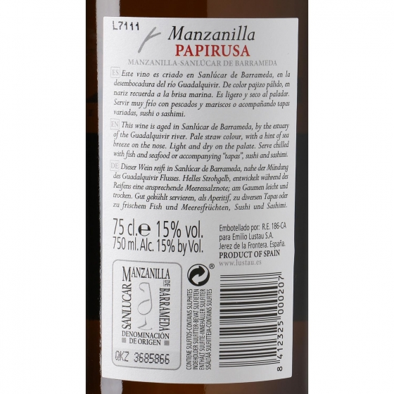 Vino D.O. Jerez Manzanilla papirusa Lustau 75 cl. - 3