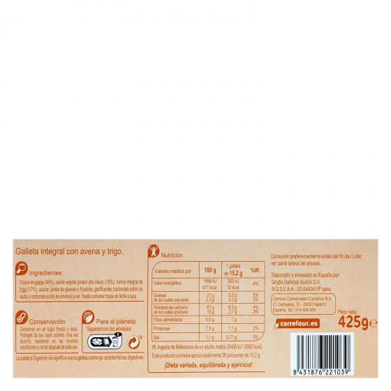Galletas de avena Digestive Carrefour 425 g. - 3
