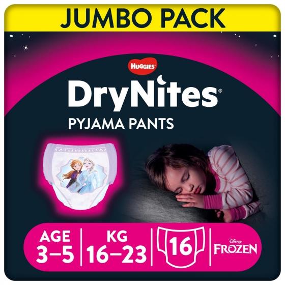 Ropa interior absorbente niña noche DryNites 3-5 años (16kg-23 kg.) 16 ud. - 1
