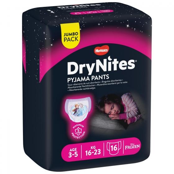 Ropa interior absorbente niña noche DryNites 3-5 años (16kg-23 kg.) 16 ud. - 3
