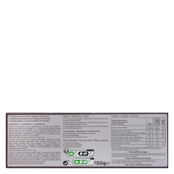 Galletas con avena y chocolate negro Carrefour 150 g. - 1