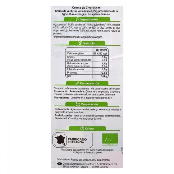 Crema de siete verduras ecológica Carrefour Bio 1 l.  - 1