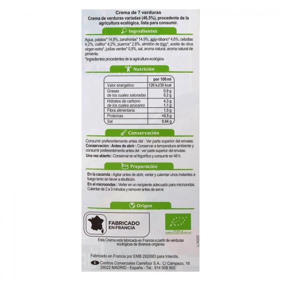 Crema de siete verduras ecológica Carrefour Bio 1 l.  - 4