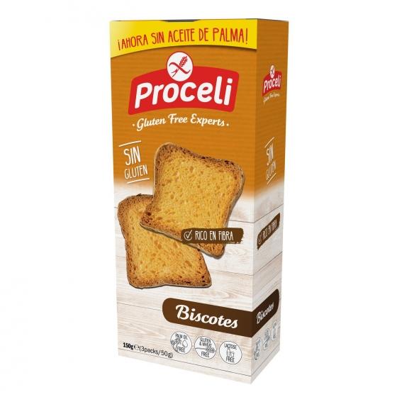 Biscottes Proceli sin gluten pack de 3 unidades de 150 g.