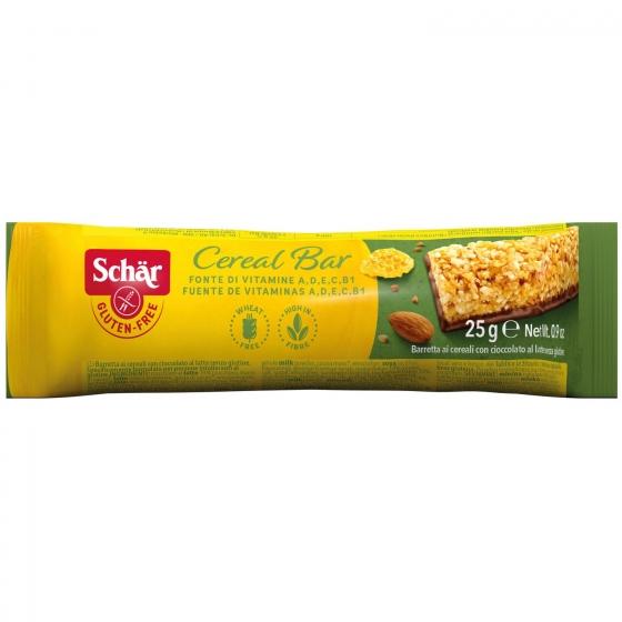 Barrita de cereales con chocolate con leche Schär sin gluten 25 g.