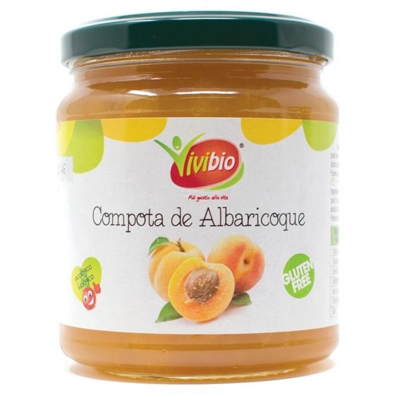 Compota de albaricoque ecológica Qbio sin gluten 320 g.
