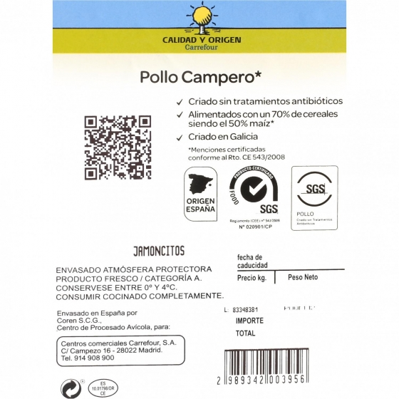 Jamoncitos de Pollo Campero Calidad y Origen Carrefour 600 g aprox - 1
